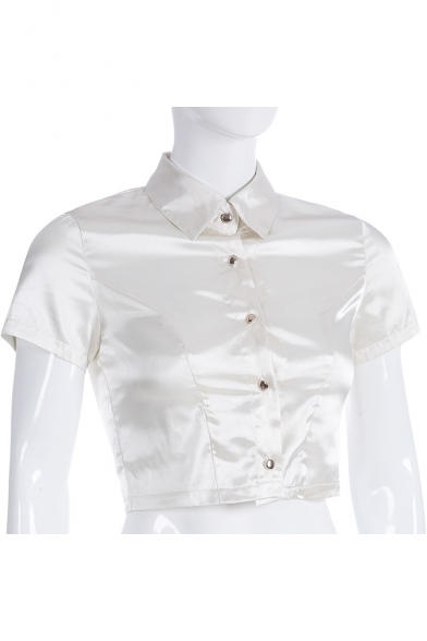 Ho Stylish Beige Short Sleeve Button Down Fitted Umbilical Stain Shirt