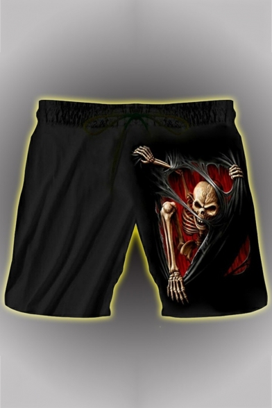 Hot Fashion Cool 3D Skull Printed Drawstring Waist Black Casual Relaxed Shorts for Men