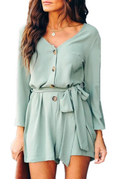 Hot Fashion Plain V-Neck Long Sleeves Tie-Waist Button Front Vacation Romper for Women, Black;blue;burgundy;green, LM547059
