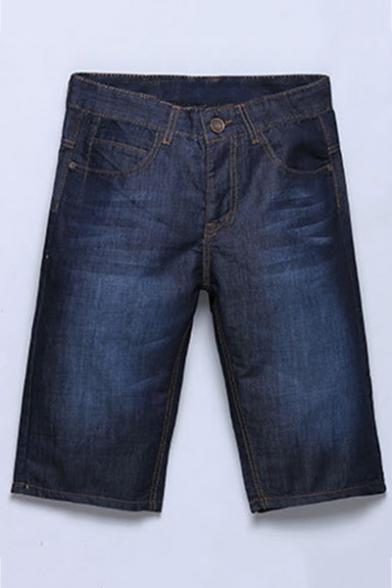 Men's Fashion Basic Plain Vintage Washed Oversized Denim Shorts