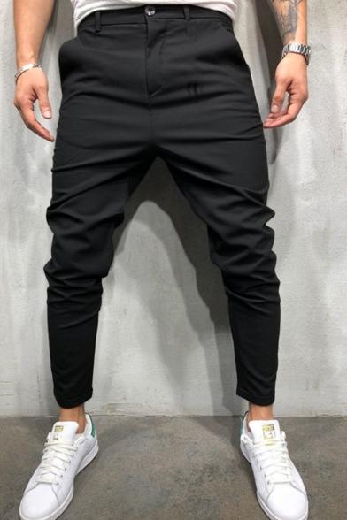 Men's Fashion Simple Plain Slim Fit Casual Dress Pants