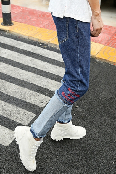 Men's New Fashion Letter Printed Patched Raw Hem Slim Fit Casual Jeans