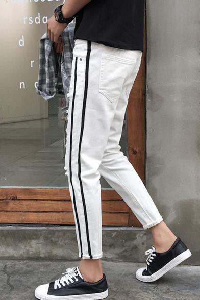 Men's New Stylish Contrast Stripe Side Knee Cut Rolled Cuffs Ripped Jeans