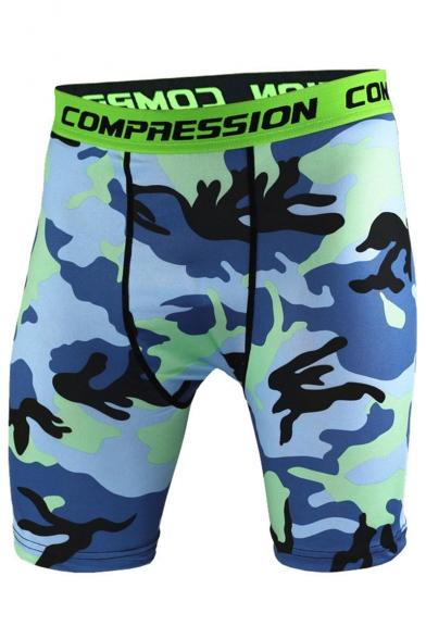 Men's Popular Fashion Camouflage Printed Letter Elastic Waist Sweaty Quick-drying Athletic Shorts