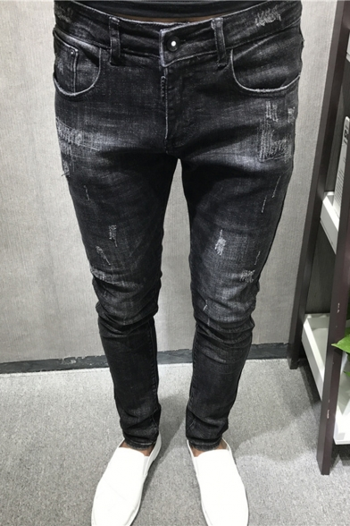 Men's Simple Fashion Solid Color Black Slim Fit Trendy Ripped Jeans