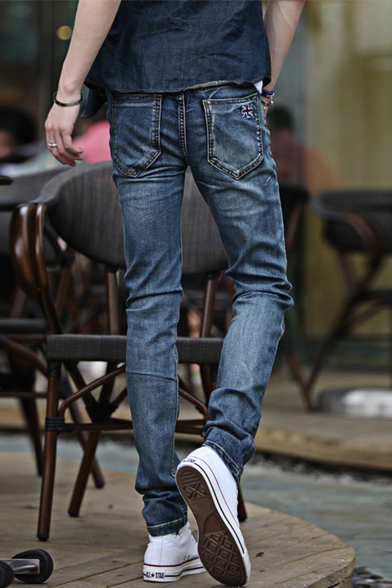 Men's Simple Fashion Vintage Washed British Flag Embroidery Blue Slim Fit Casual Jeans