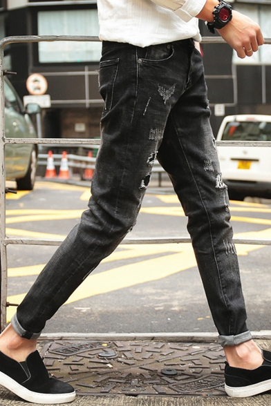 Men's Stylish Washed-Denim Black Patched Ripped Jeans
