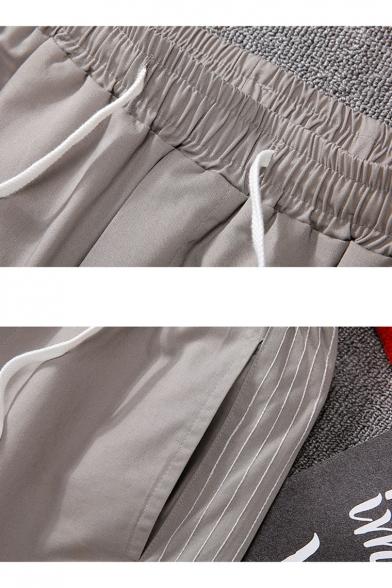 Men's Summer Fashion Classic Side Striped Drawstring Waist Casual Sports Shorts