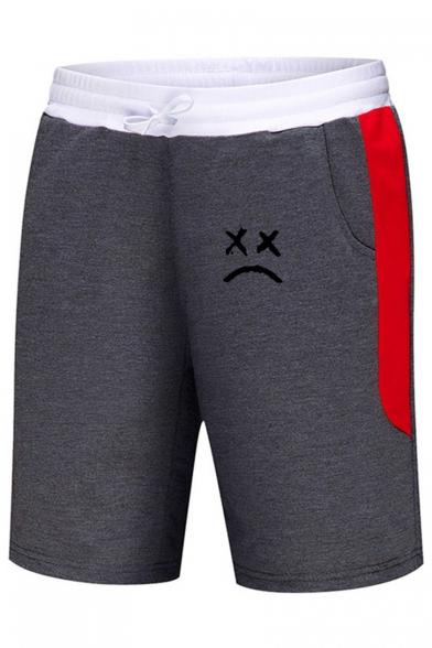 Men's Summer Fashion Colorblock Sad Face Printed Drawstring Waist Casual Sweat Shorts