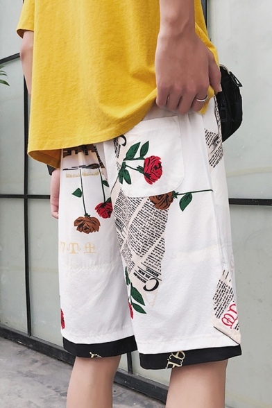 Men's Summer New Fashion Letter Rose Printed Fake Two Pieces Casual Loose Shorts