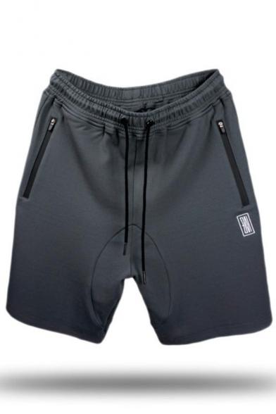 Men's Summer New Stylish Logo Printed Zipped Pocket Drawstring Waist Running Sweat Shorts