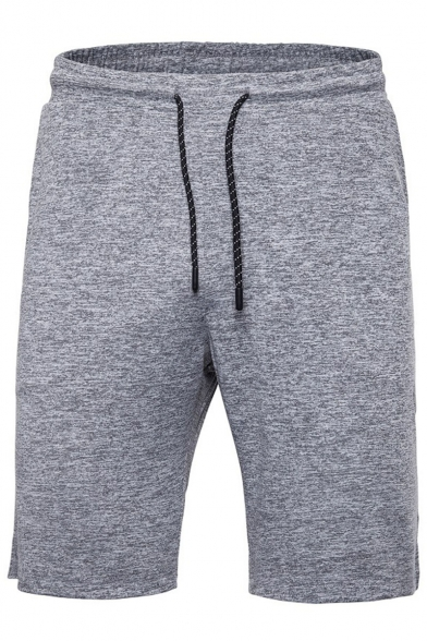 Men's Summer Simple Fashion Solid Color Drawstring Waist Casual Comfortable Cotton Sweat Shorts