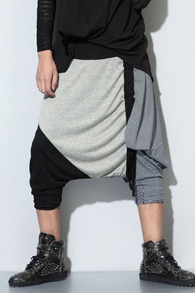 Men's Trendy Color Block Pinstripe Printed Drawstring Design Drop-Crotch Grey Cotton Joggers Harem Pants
