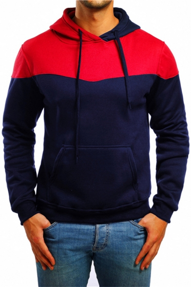Mens Fashion Unique Colorblocked Long Sleeve Sport Fitted Drawstring Hoodie