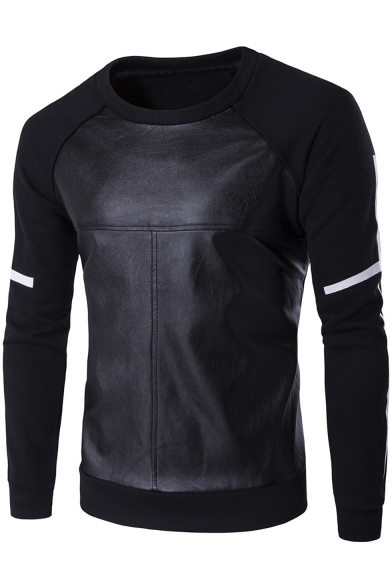 Mens PVC Patched Round Neck Cross Stripe Long Sleeve Fitted Pullover Sweatshirt