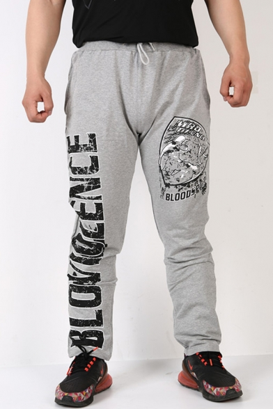 New Fashion Letter Figure Printed Drawstring Waist Men's Casual Outdoor Sport Loose Sweat Pants