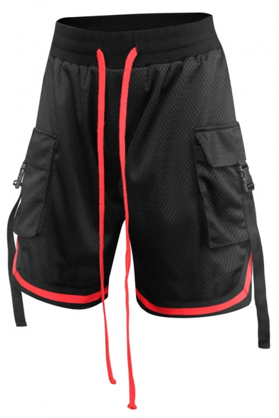 Popular Fashion Colorblock Striped Trim Drawstring Waist Buckle Strap Pocket Side Men's Outdoor Athletic Shorts