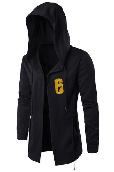 Popular Game 6 Logo Print Long Sleeve Black Drawstring Hooded Coat for Men