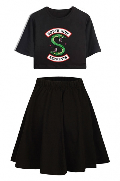 Popular Snake Logo Printed Short Sleeve Cropped Tee with A-Line Skirt Two-Piece Set, Color 1;color 2;color 3;color 4;color 5;color 6;color 7;color 8;color 9;color 10;color 11;color 12;color 13;color 14;color 15;color 16, LC545292