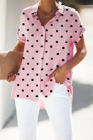 Summer Classic Polka Dot Printed Short Sleeve Button Down Loose Casual Shirt Blouse