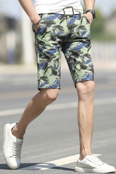 Summer Fashion Camouflage Printed Regular Fit Men's Casual Chino Shorts