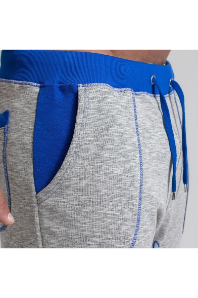 Summer Fashion Colorblocked Letter Printed Stitching Details Drawstring Waist Cotton Sports Sweat Shorts for Men