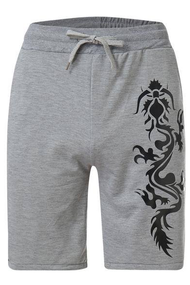 Summer Fashion Dragon Printed Drawstring Waist Casual Relaxed Sweat Shorts For Men