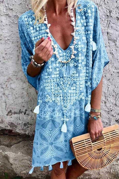 Summer Fashion Holiday Boho Style Tribal Print V-Neck Midi Tassel Dress