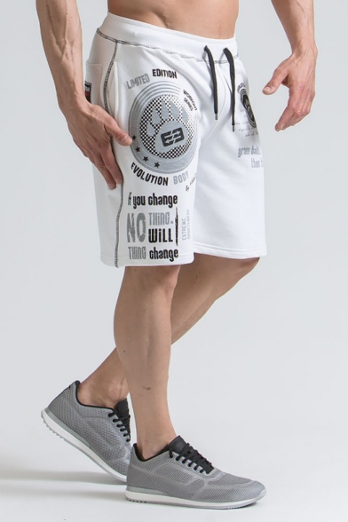 Summer Fashion Letter Printed Drawstring Waist Loose Fit Sport Training Sweat Shorts