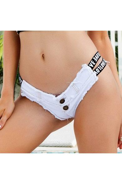 Summer Fashion Unique Letter Strap Sexy Night Club Hot Pants Jeans Denim Shorts