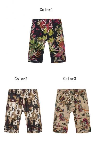 Summer Hawaii Tropical Printed Drawstring Waist Men's Beach Shorts Swim Trunks