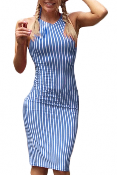 Summer Hot Fashion Halter Neck Open Back Vertical Stripe Print Midi Bodycon Dress