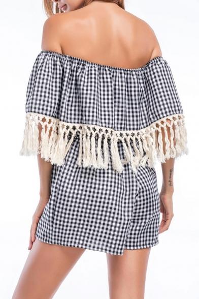 Summer Hot Popular Striped Check Print Off Shoulder Tassel Trim Casual Loose Rompers