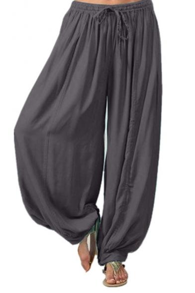 De Verano De La Venta Caliente De La Moda De Lazo En La Cintura Llanura Suelto Danza Pantalones Bombachos
