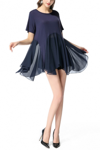 Summer Navy Simple Plain Round Neck Short Sleeve Mini Asymmetric Chiffon Dress