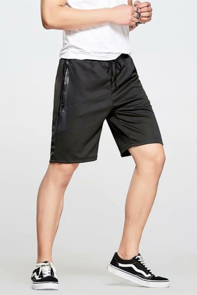 Summer Simple Fashion Drawstring Waist Zip Pocket Black Cotton Sport Sweat Shorts