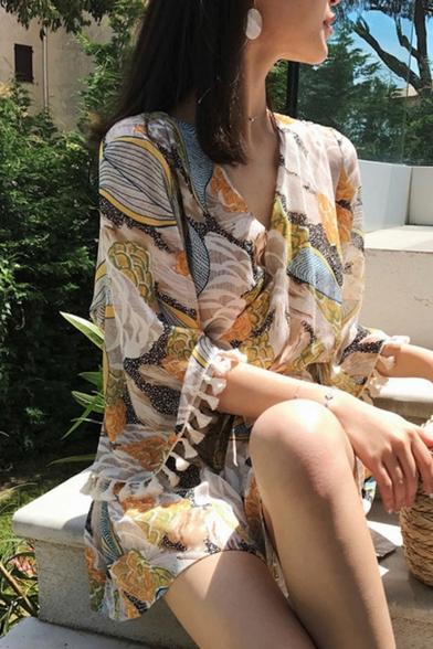 Summer Stylish Chic Printed V Neck High Waist Tassel Sleeve Beach Rompers