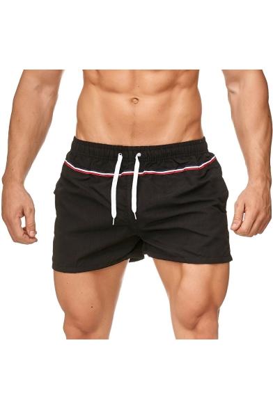 Summer Trendy Contrast Stripe Print Drawstring Waist Beach Shorts Casual Loose Sport Shorts for Men