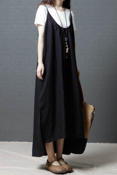 Summer Womens Basic Solid Color Sleeveless Maxi Casual Loose Jumper Dress