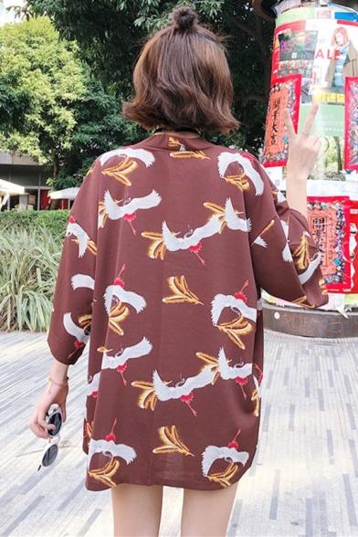 Summer Womens Trendy Crane Pattern Three-Quarter Sleeve Holiday Kimono Blouse