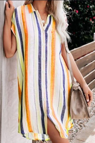 Summer Womens Trendy Vertical Striped Short Sleeve Button Down Casual Mini Shirt Dress