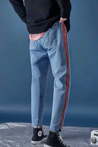 Trendy Contrast Stripe Side Rolled Cuffs Blue Relaxed Fit Casual Jeans