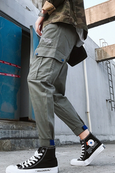 Trendy Letter Printed Flap Pocket Drawstring Waist Cotton Casual Cargo Pants for Men