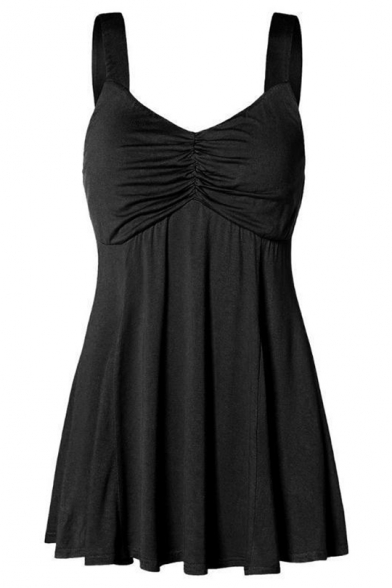 Women's Summer Hot Fashion Ruched V-Neck Sleeveless Plain Mini A-Line Pleated Dress