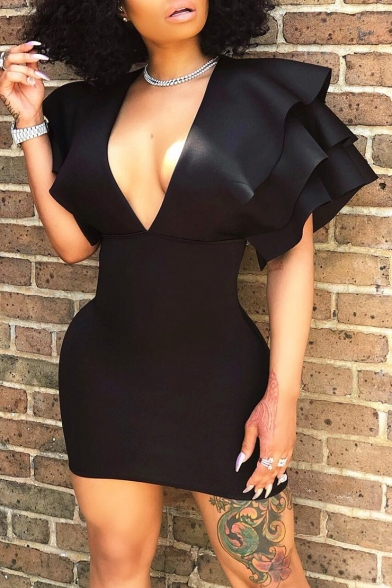 Womens Cool Fashion Sexy Plunging V-Neck Ruffled Sleeve Plain Black Mini Bodycon Dress