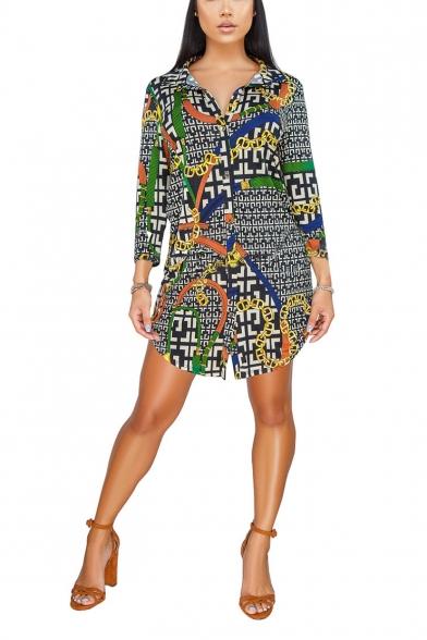 Womens Hot Fashion Chain Printed Long Sleeve Mini Shirt Dress
