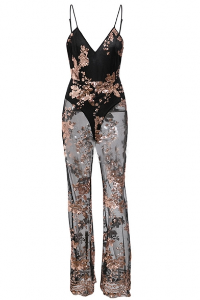 Womens Hot Popular Black Straps Sleeveless Sequin Embellished Sheer Mesh Patch Sexy Jumpsuits