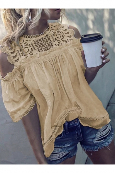 Womens New Fashion Solid Color Hollow Out Lace Patched Cold Shoulder Blouse Top