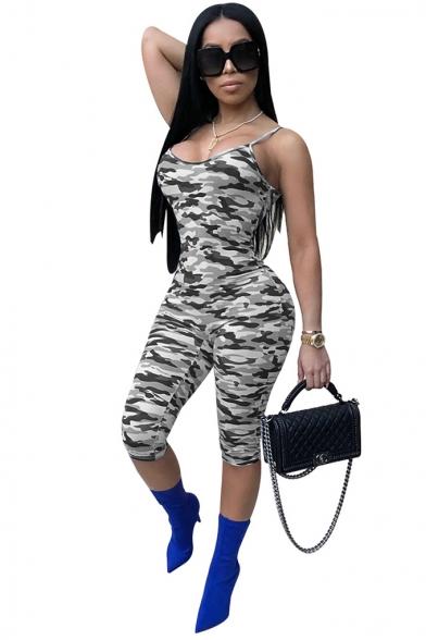 Womens Sexy Stylish Camo Printed Spaghetti Straps Sleeveless Skinny Fit Romper Jumpsuit