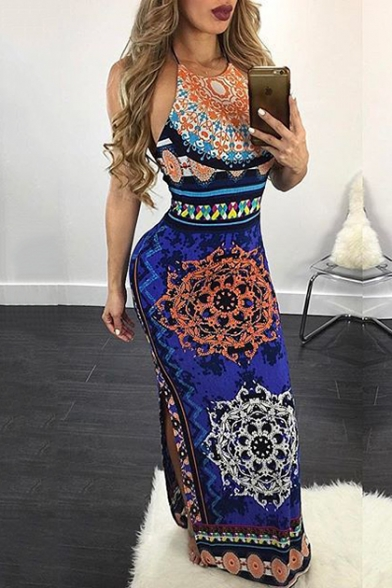 Womens Unique Fashion Tribal Printed Halter Neck Sleeveless Open Back Split Side Maxi Bodycon Dress